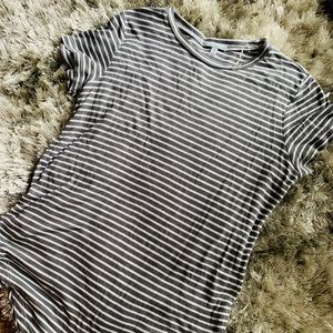 Soft Grey and White Striped Tee
